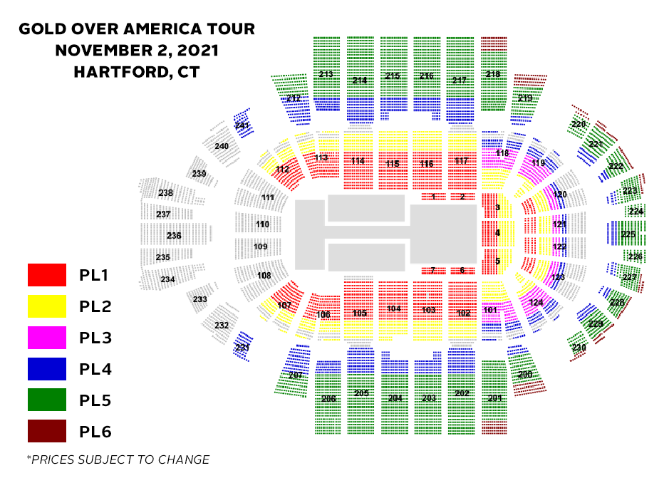 Gold Over America Tour Seating Chart